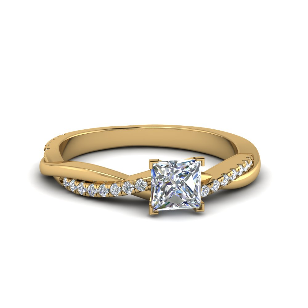 6 x 6 mm twisted vine moissanite engagement ring in yellow gold FD8253PRR NL YG