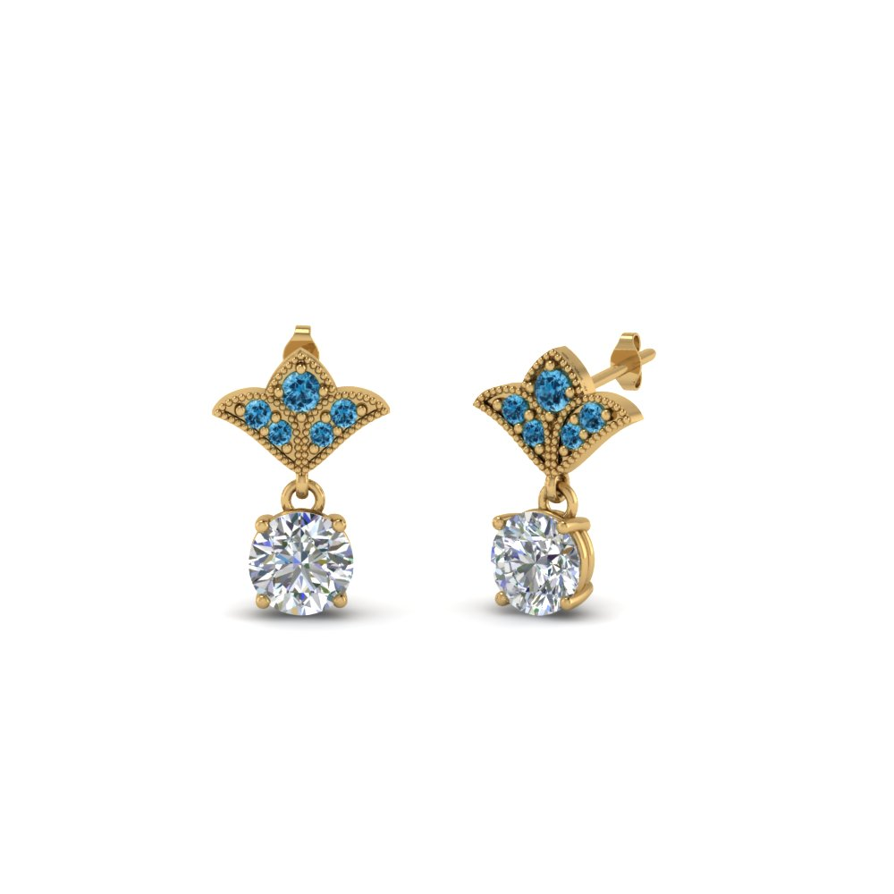 Antique Diamond Earrings With Topaz