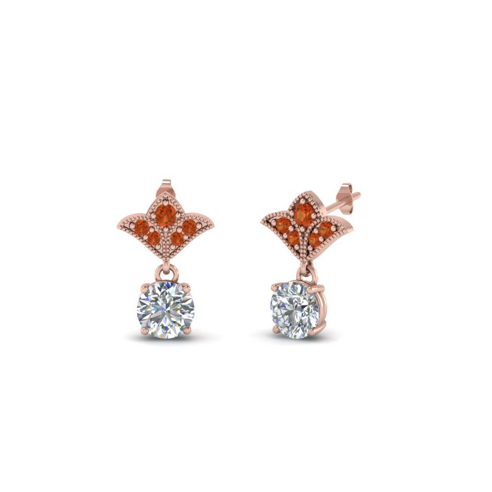 Milgrain Orange Sapphire Earrings