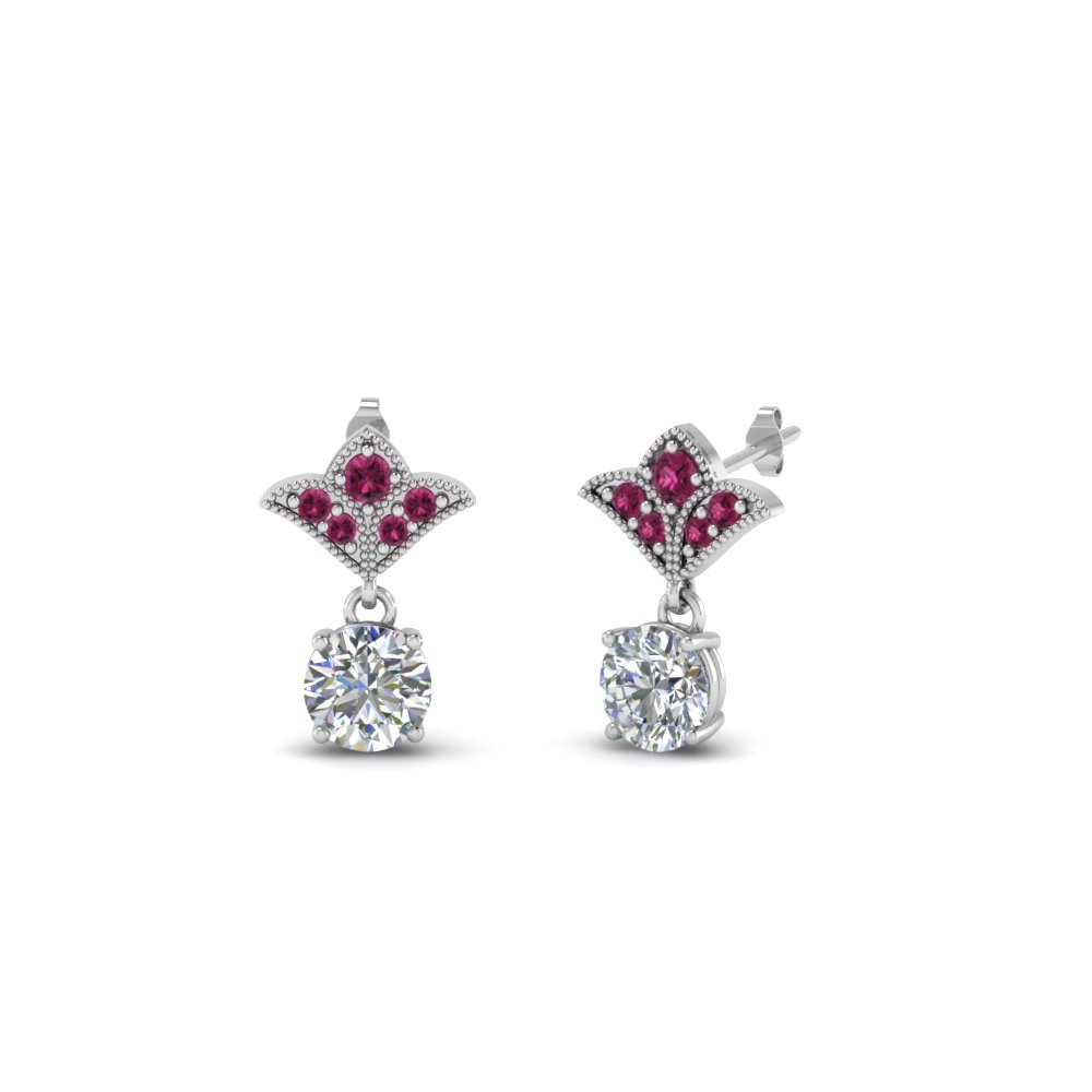 Pink Sapphire Antique Earrings