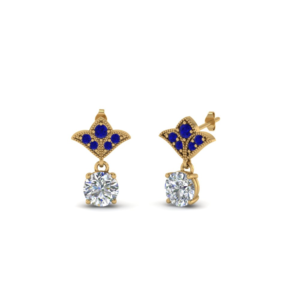 mom diamond antique earring with sapphire in 14K yellow gold FDEAR8425 0.25CTGSABL NL YG