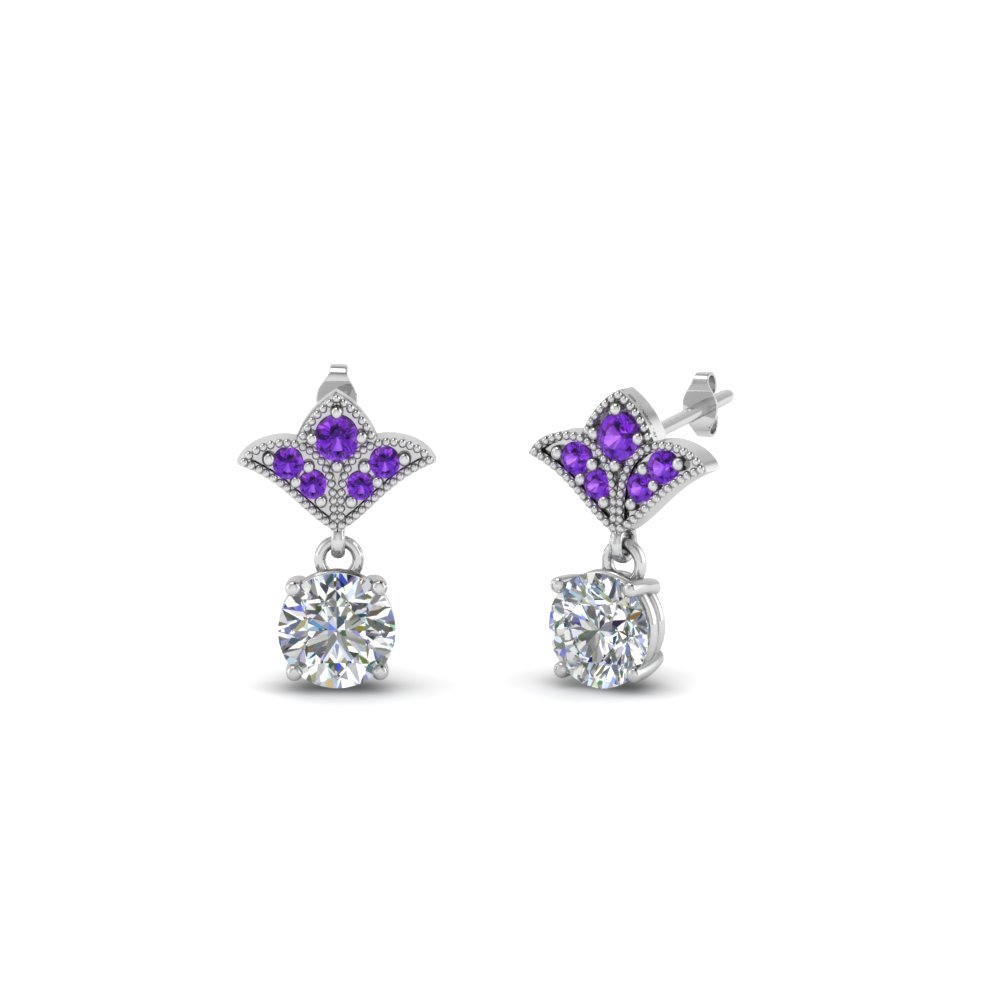 Purple Topaz Milgrain Earrings