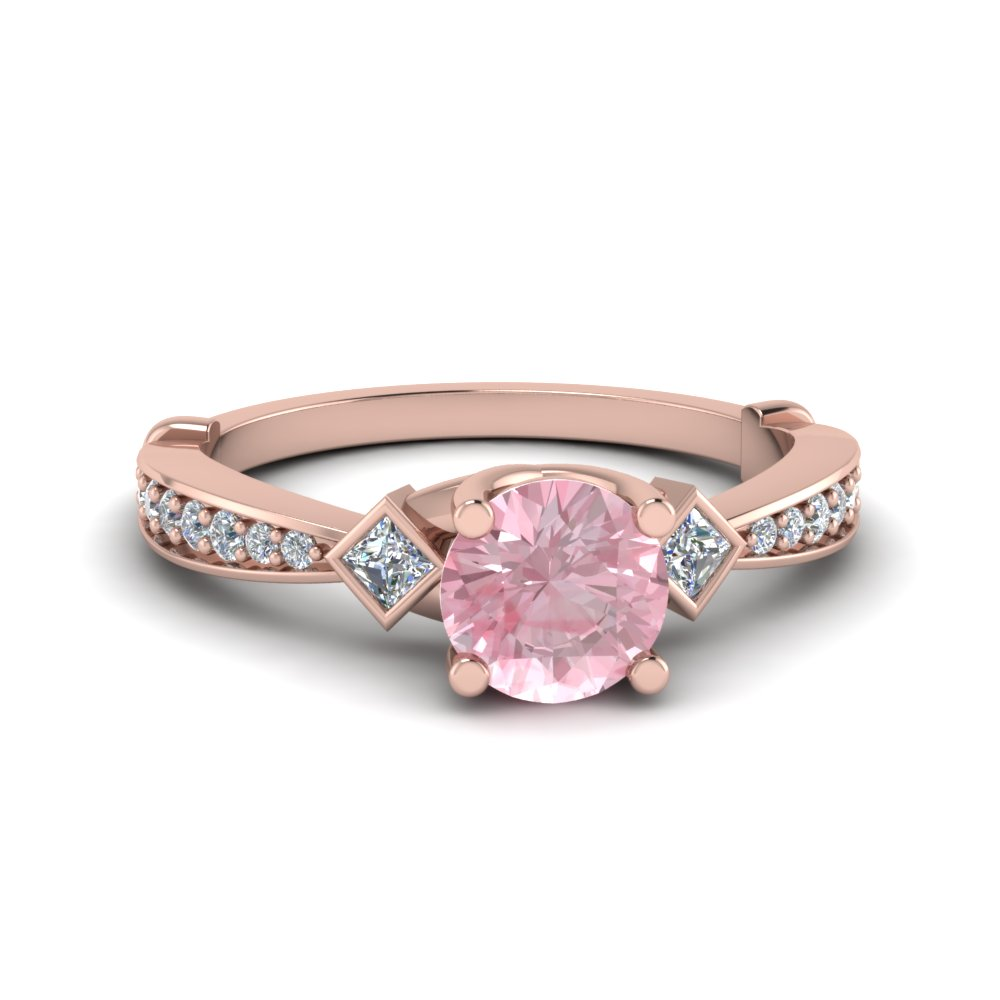 Morganite 3 Stone Engagement Ring