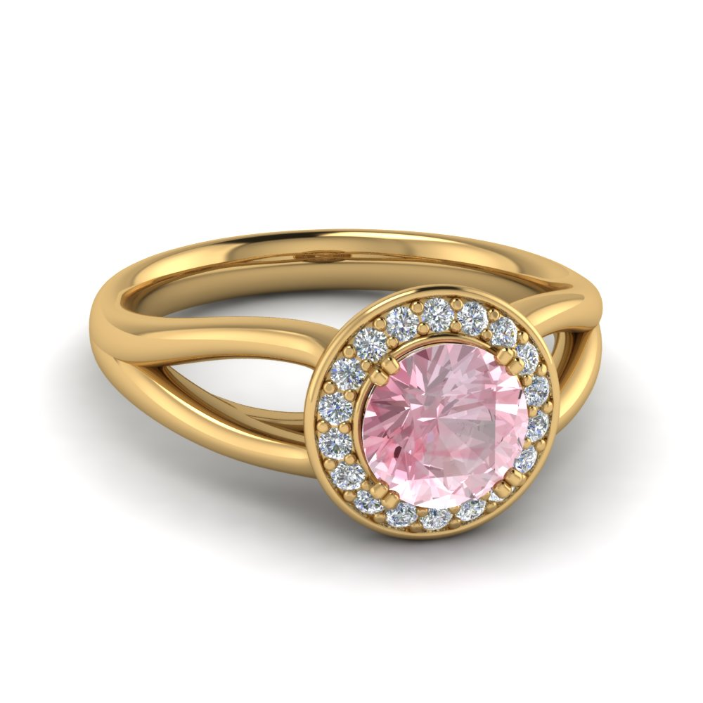 split shank halo morganite engagement ring in FD122596RORGMO NL YG