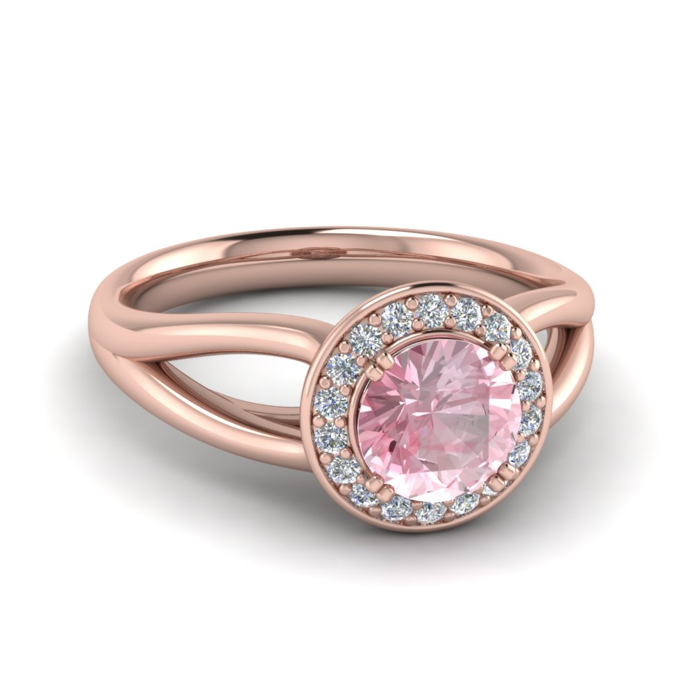 split shank halo morganite engagement ring in FD122596RORGMO NL RG