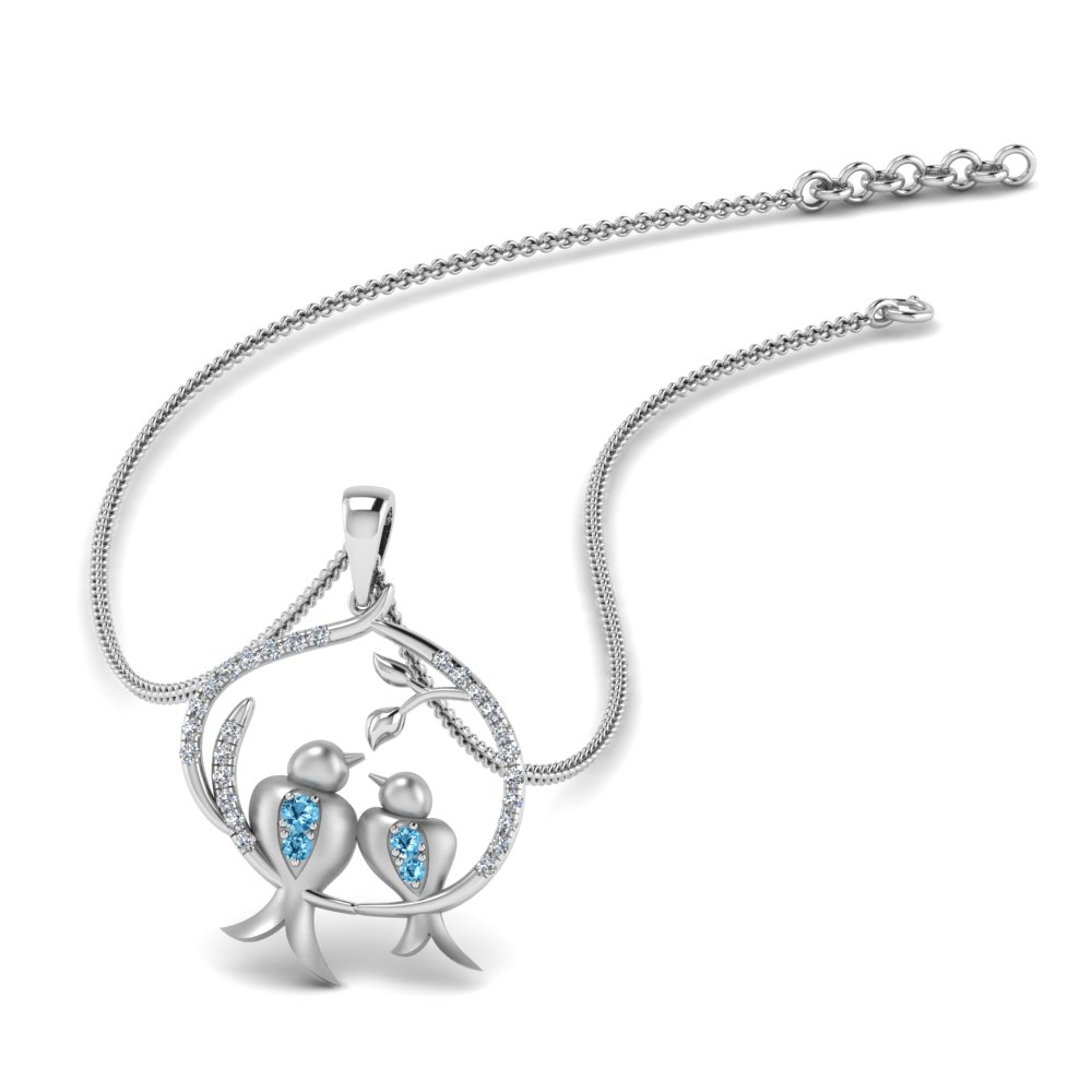 Blue Topaz Bird Necklace For Mother
