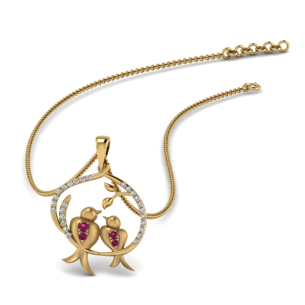 Mother Bird Pink Sapphire Necklace