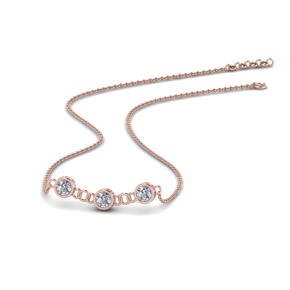 Mothers Day Diamond Necklace Gift In 14K Rose Gold