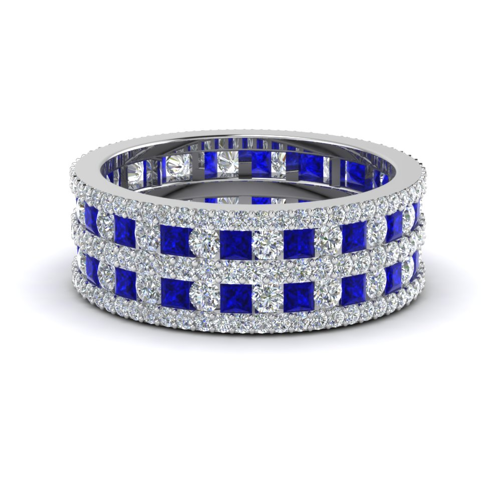Sapphire Multi Row Eternity Band