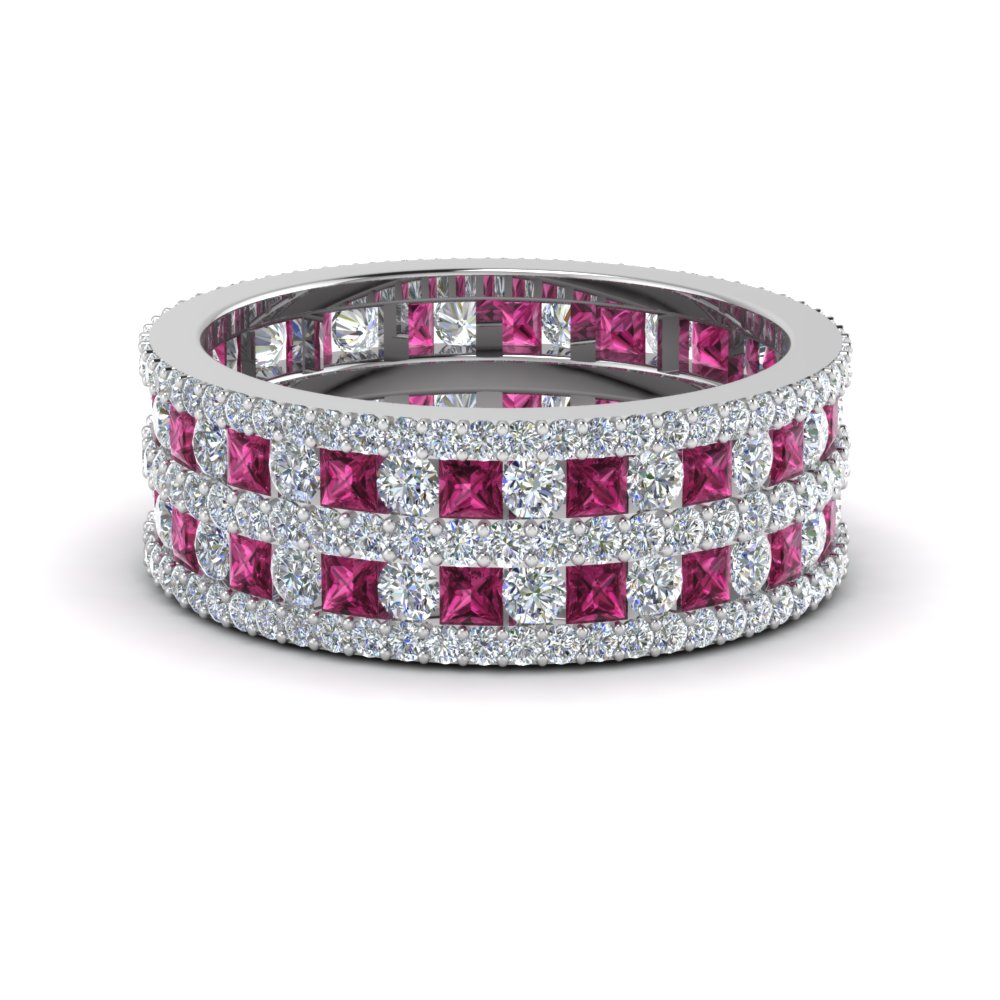 multi row diamond eternity ring (3 ctw) with pink sapphire in FDEWB8405BGSADRPI NL WG