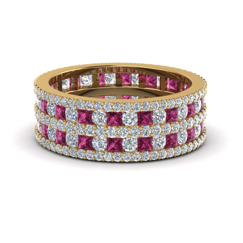 Multi Row Diamond Eternity Ring (3 Ctw) With Pink Sapphire In 14K Yellow Gold