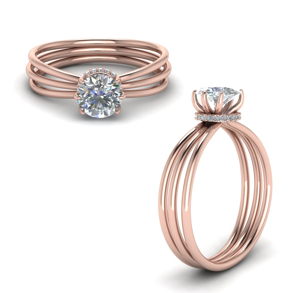 Multi Strand Diamond Engagement Ring In 18K Rose Gold