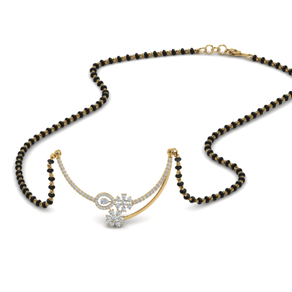 18K Yellow Gold Floral Diamond Mangalsutra