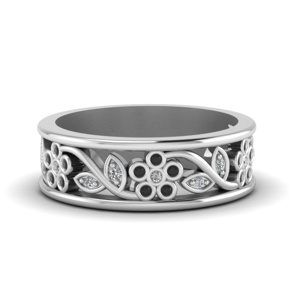 Nature Inspired Black Diamond Band