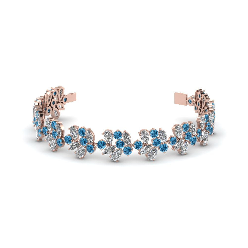 nature inspired cluster diamond bracelet with blue topaz in FDBR8190GICBLTO NL RG