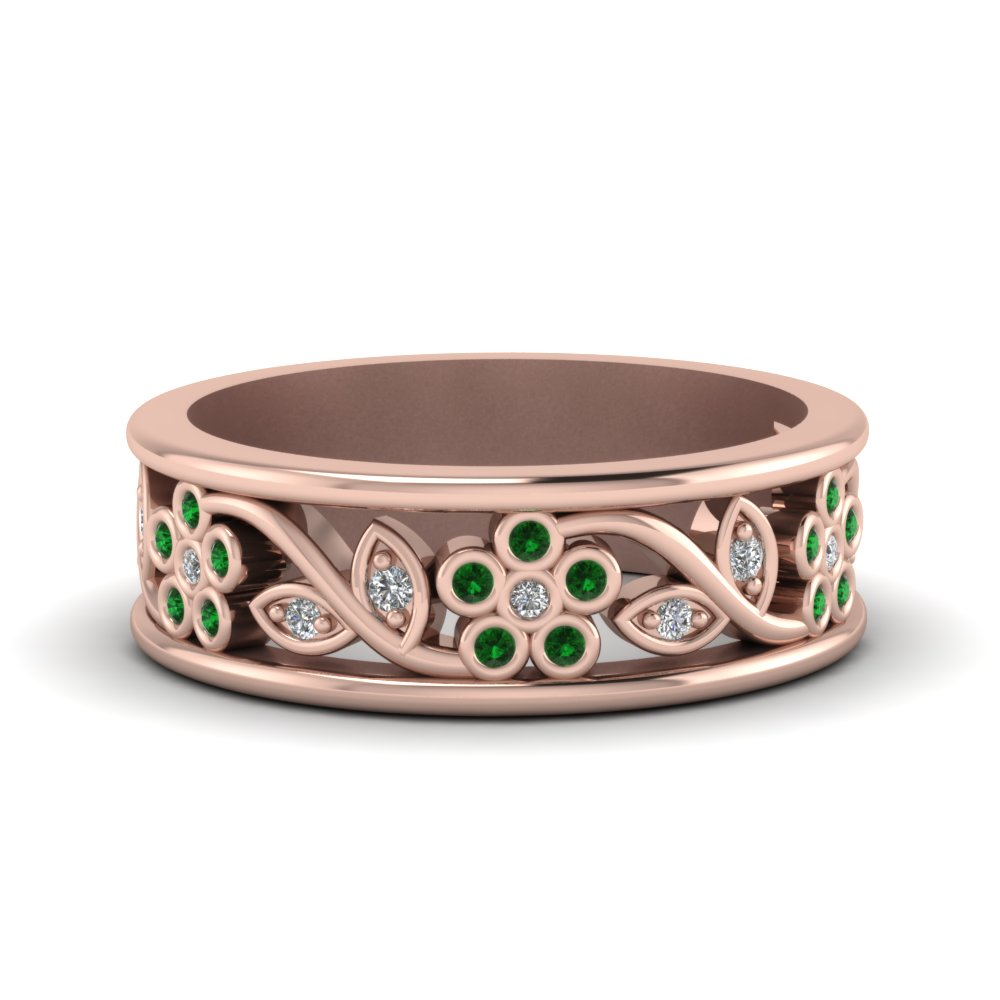 Flower Design Emerald Band
