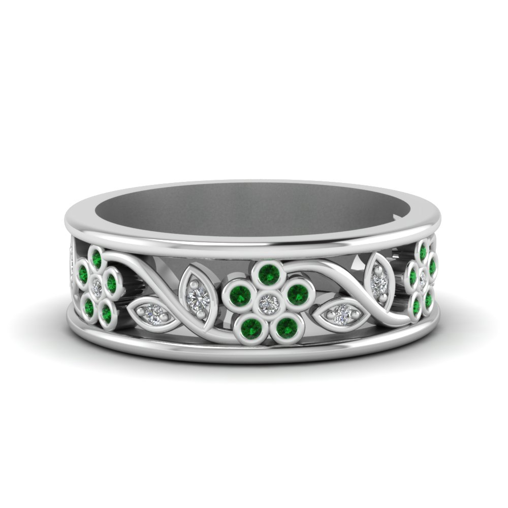 nature inspired diamond wedding band for women with emerald in FD121712BGEMGR NL WG