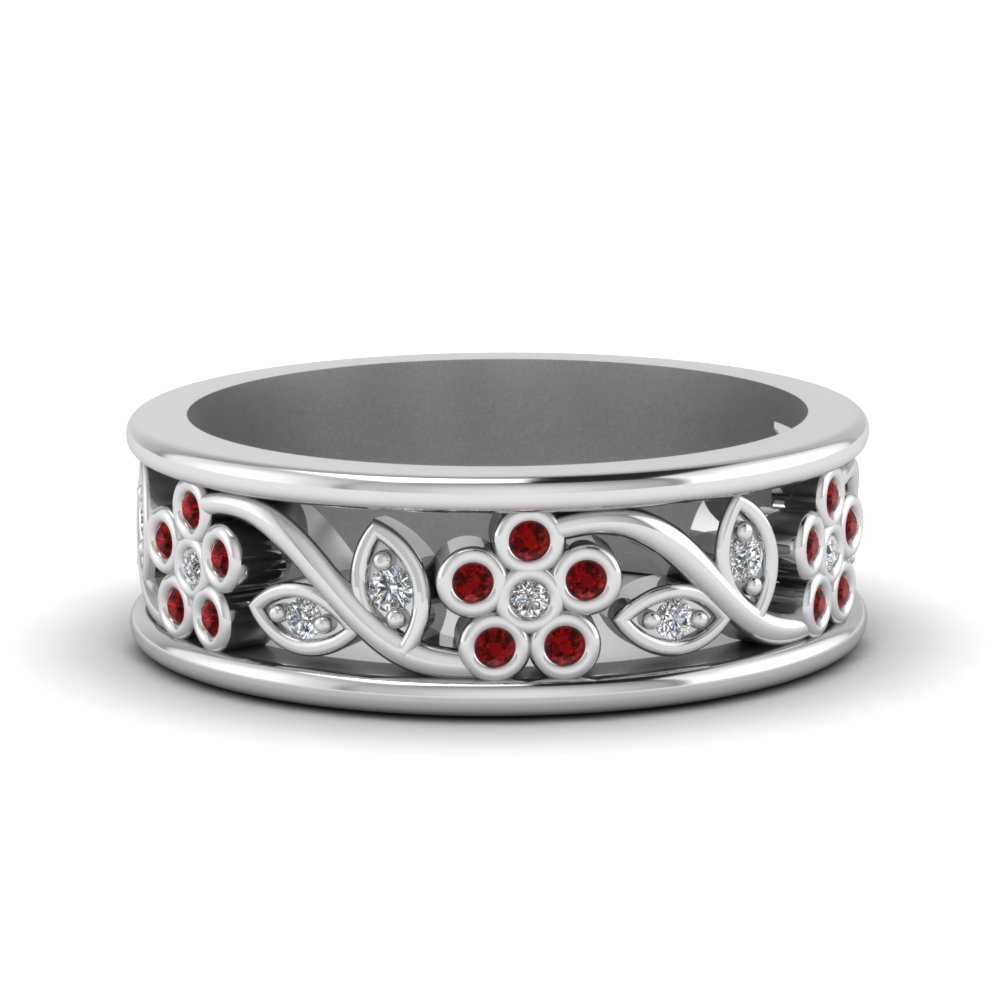 nature inspired diamond wedding band for women with ruby in FD121712BGRUDR NL WG