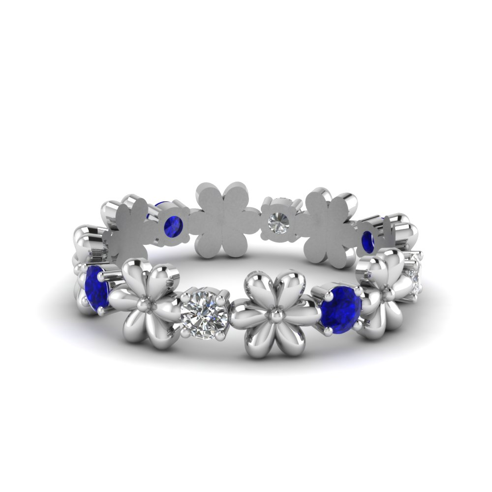 Nature Inspired Sapphire Eternity Band