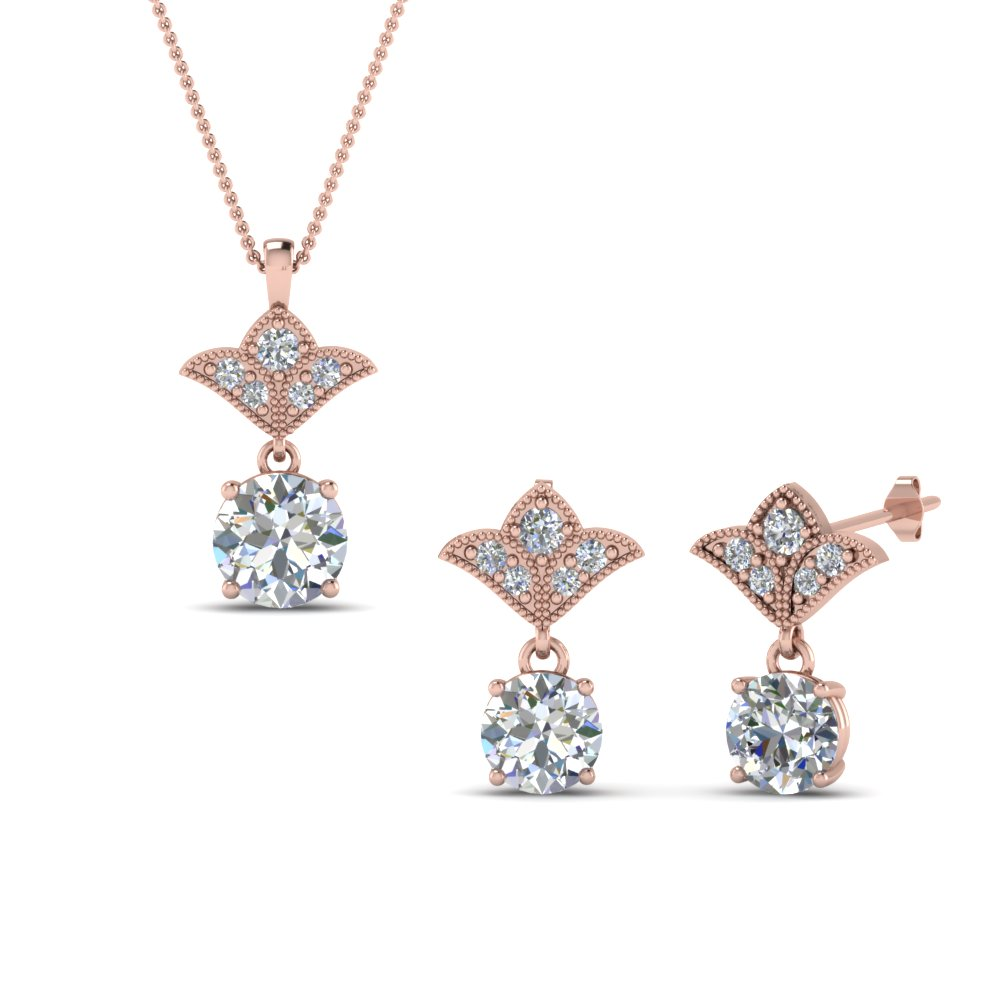Art Deco Diamond Earring And Pendant