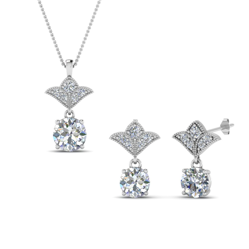 18K White Gold Earring And Pendant Combo Offer