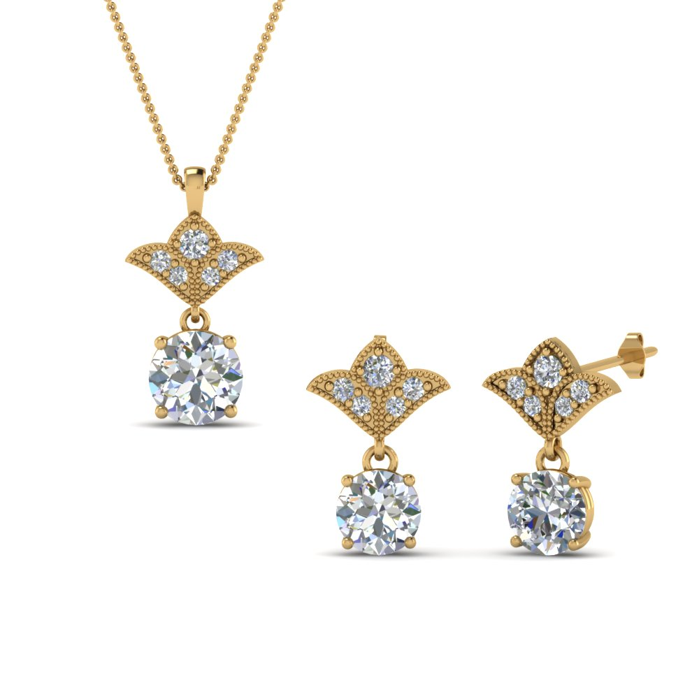 14K Yellow Gold Earring And Pendant Sale