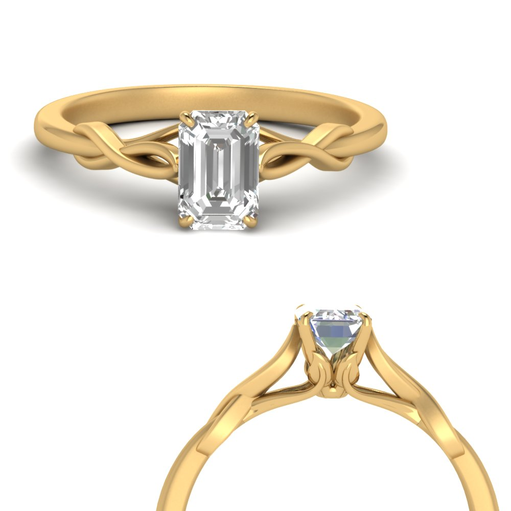nature inspired emerlad cut solitaire engagement ring in FD122705EMRANGLE1 NL YG