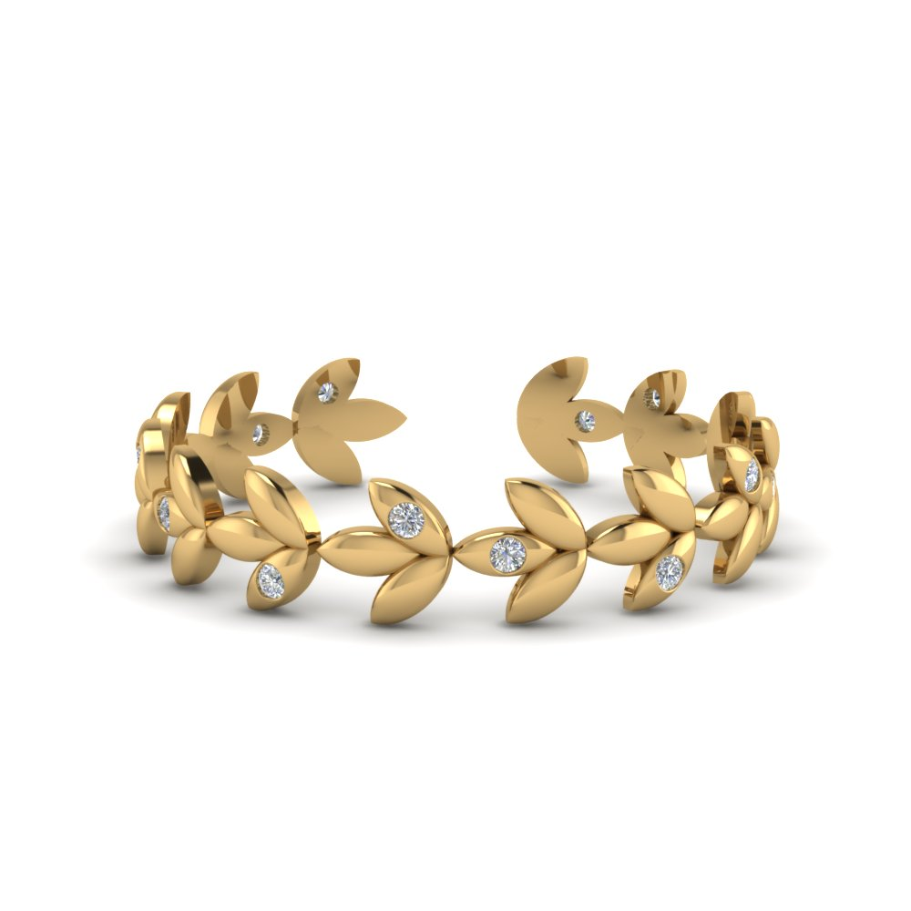 Cluster Diamond Open Cuff Ring