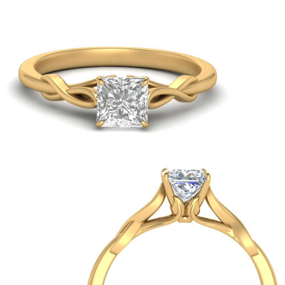 nature inspired princess cut solitaire engagement ring in FD122705PRRANGLE1 NL YG