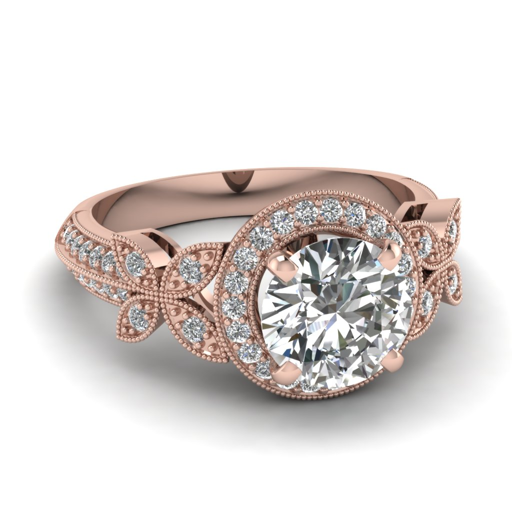 nature inspired round halo vintage diamond engagement ring in 14K rose gold FDENS3243ROR NL RG