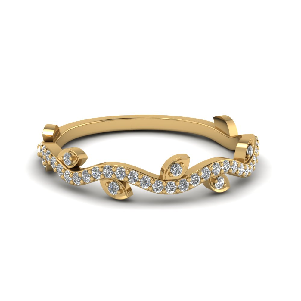 nature wedding diamond band in 14K yellow gold FD122916 NL YG