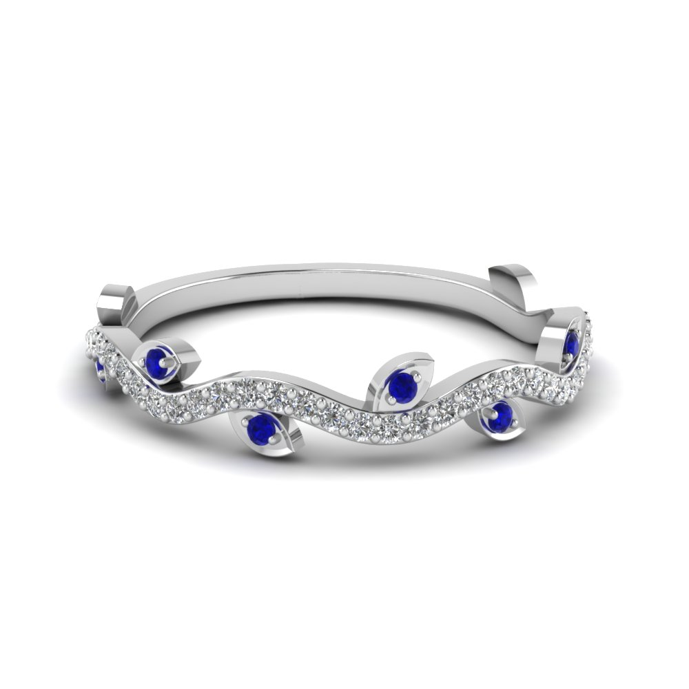 Sapphire Nature Inspired Wedding Band