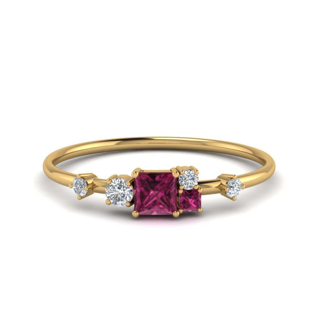 15a63002dc4af non symmetrical pink sapphire engagement ring with diamond in  FD8354PYGSADRPI NL YG