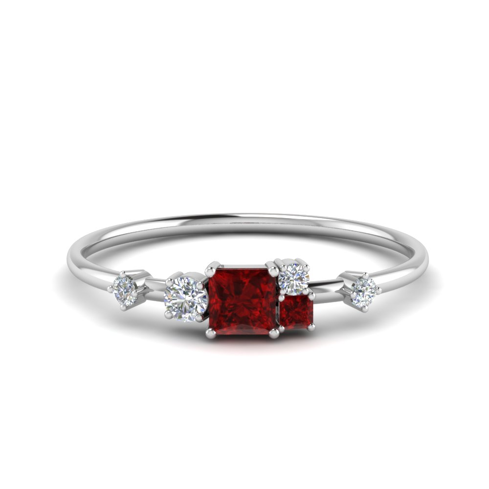 non symmetrical ruby engagement ring with diamond in FD8354PRGRUDR NL WG