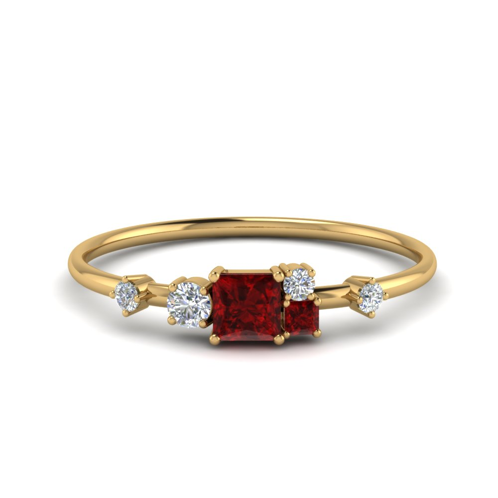 non symmetrical ruby engagement ring with diamond in FD8354PYGRUDR NL YG