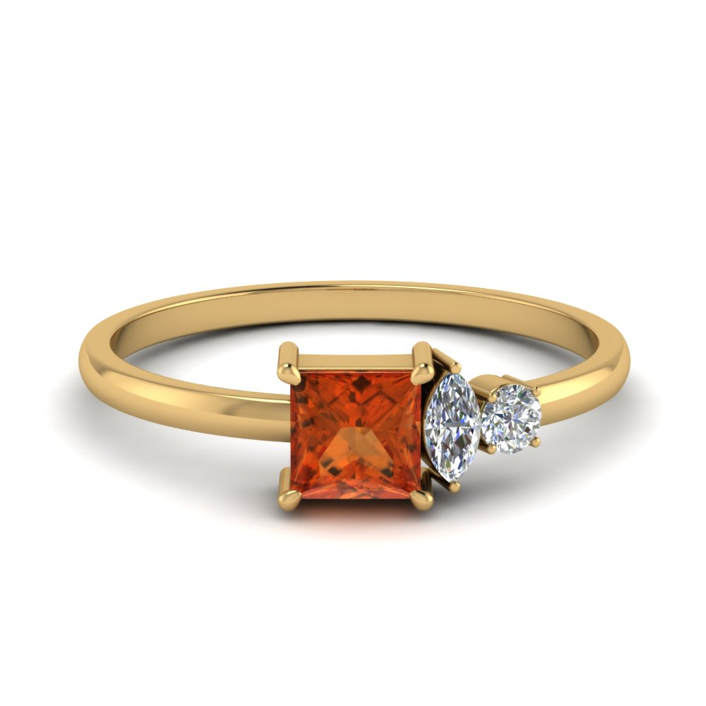 Non Traditional Orange Sapphire Ring