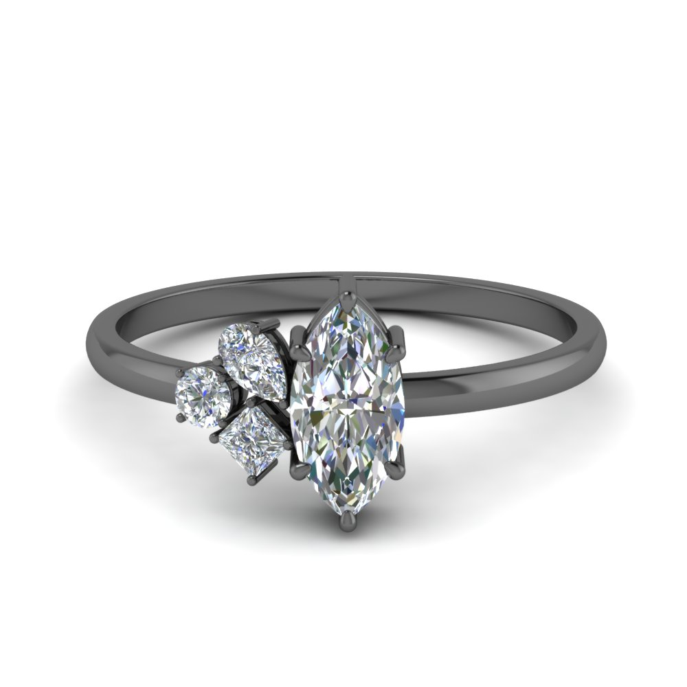 non traditional petite diamond engagement ring in FD9029MQ NL BG