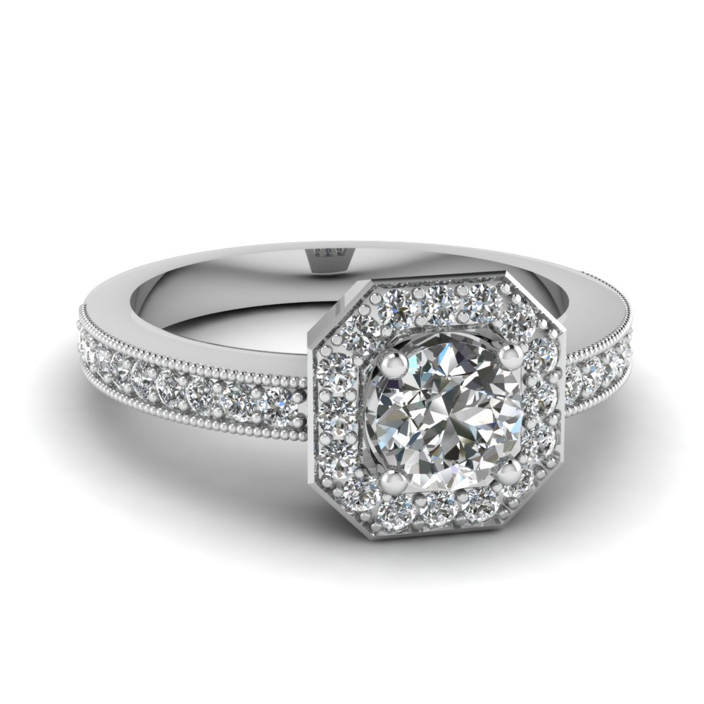 octagon round vintage halo diamond engagement ring in 14K white gold FDENR9026ROR NL WG