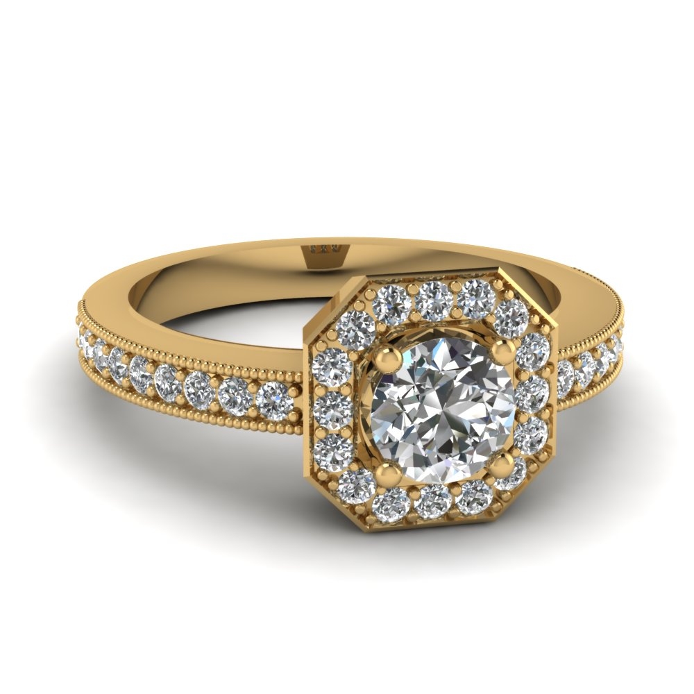 octagon round vintage halo diamond engagement ring in 14k yellow