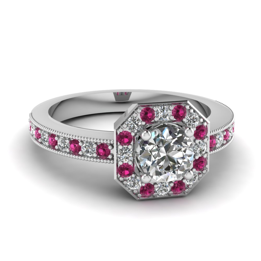 octagon round vintage halo diamond engagement ring with pink sapphire in FDENR9026RORGSADRPI NL WG