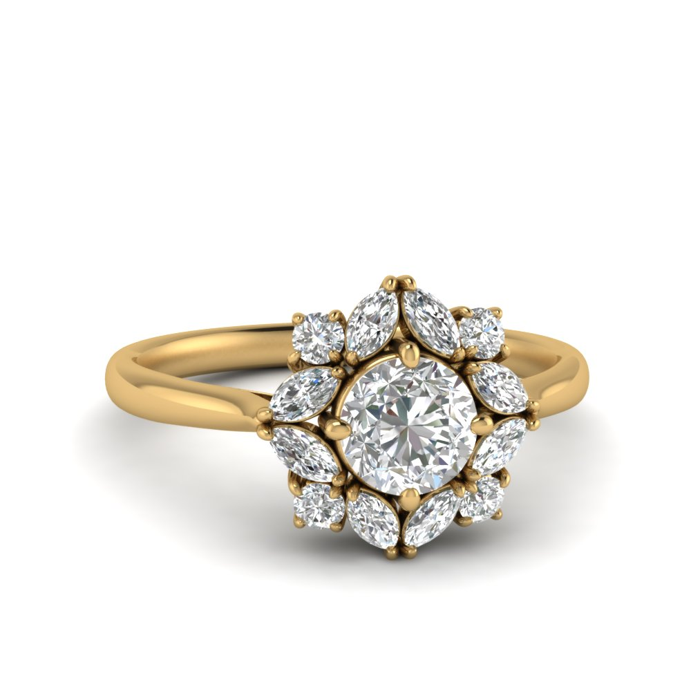 offbeat flower lab diamond engagement ring in 14K yellow gold FD123772ROR NL YG