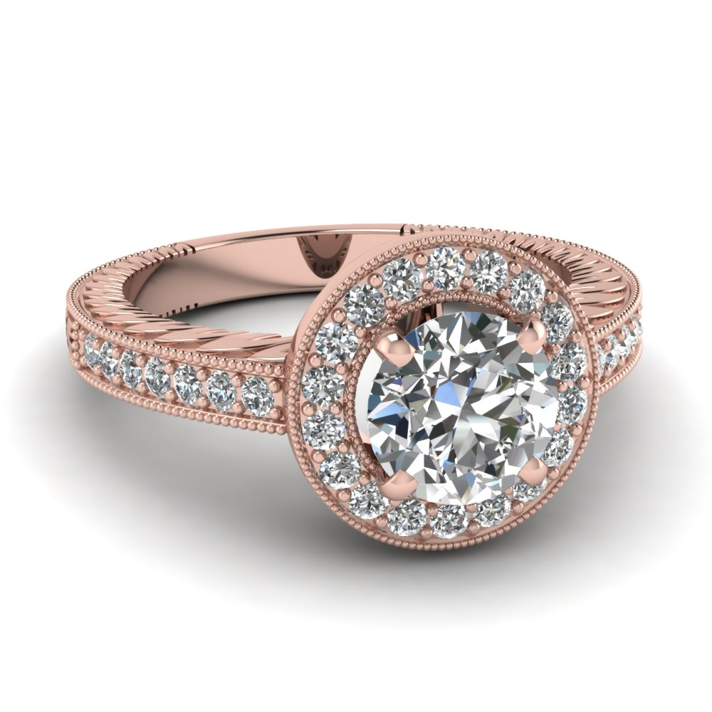 round diamond halo vintage engagement ring in 14k rose gold fascinating diamonds. Black Bedroom Furniture Sets. Home Design Ideas