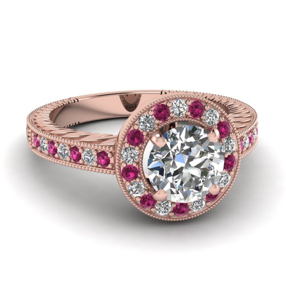 round diamond halo vintage engagement ring with pink sapphire in 14k rose gold fascinating. Black Bedroom Furniture Sets. Home Design Ideas