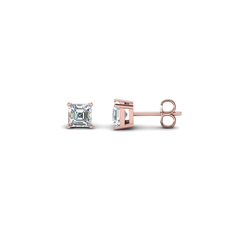 One Carat Asscher Cut Stud Earring