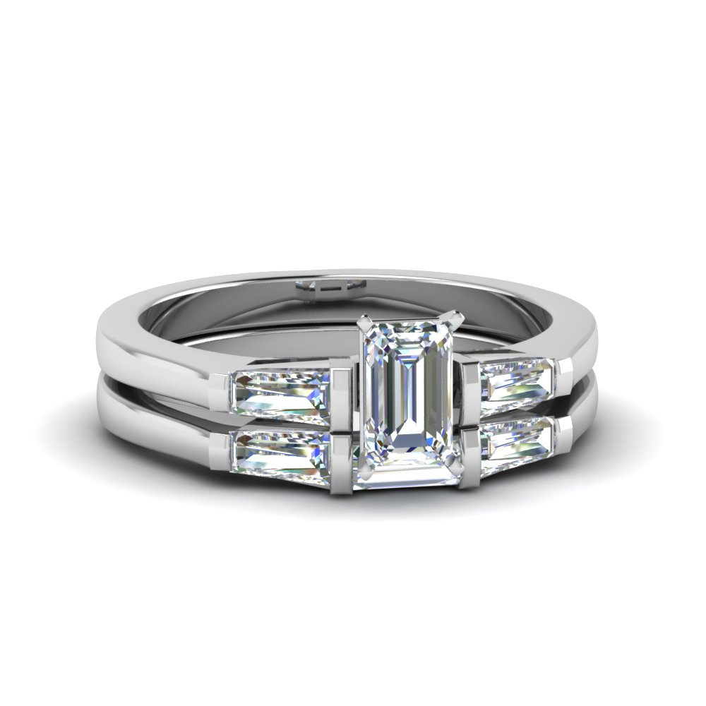 1 carat emerald cut with baguette wedding set in FDENS100EM NL WG