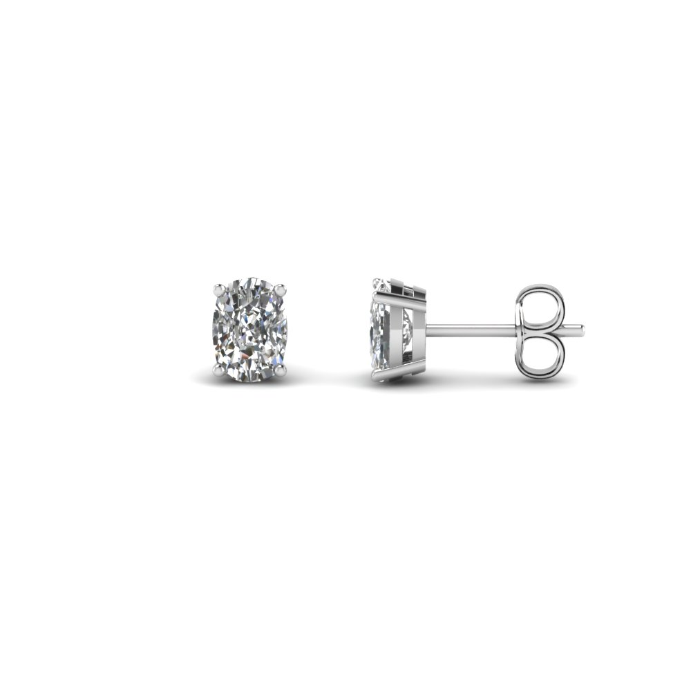 one carat cushion cut diamond earring in 14K white gold FDEAR4CU0.50CT NL WG