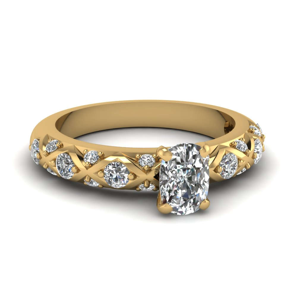 one carat cushion diamond infinity style engagement ring in 14K yellow gold FDENS1482CUR NL YG