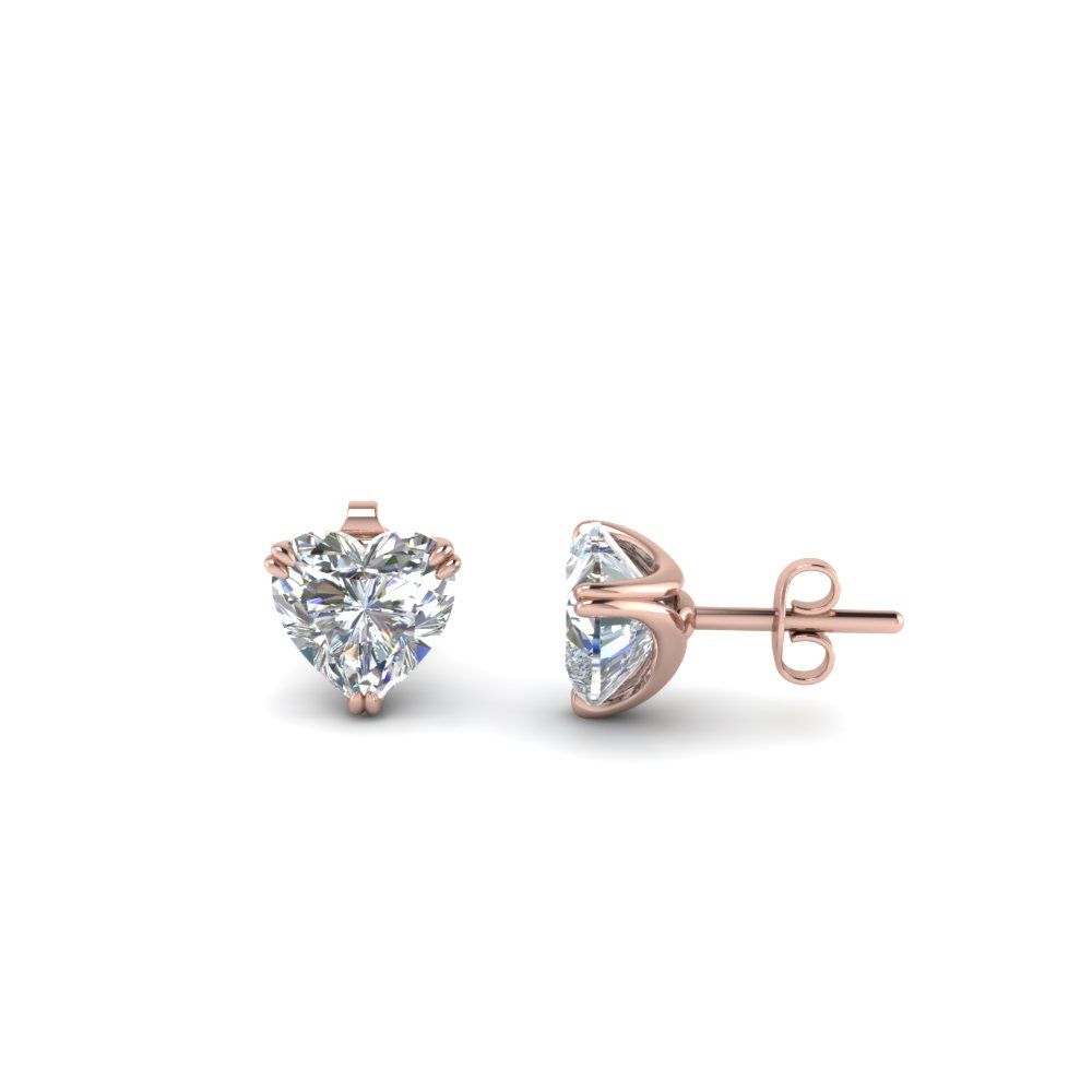 1 Ct. Diamond Heart Stud Earring