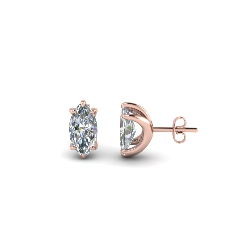 One Carat Marquise Stud Earring