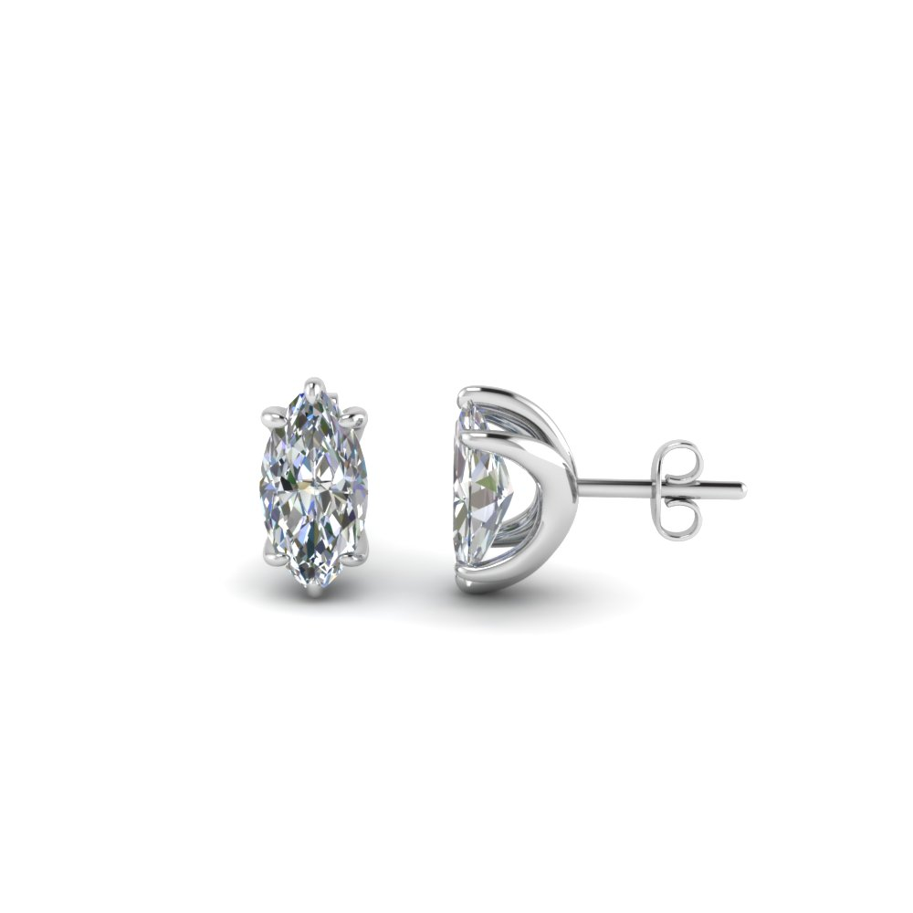 One Carat Diamond Marquise Stud Earring